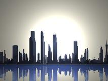 2个城市剪影地平线 库存图片
