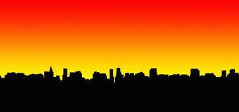 2个城市剪影 免版税库存照片
