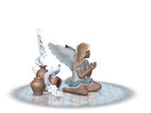 2个天使祈祷 库存照片