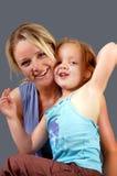 2个女儿母亲 库存图片