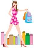 2个女孩购物 向量例证