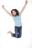 2个女孩跳的年轻人 库存图片