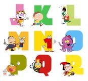 2个字母表快乐动画片的收藏 库存照片