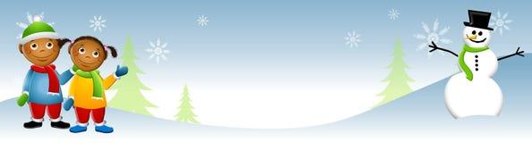 2个孩子雪人冬天 免版税库存照片