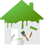 2个家庭绘画维修服务工具 库存照片