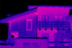 2个房子自计温度计 免版税库存图片