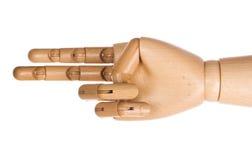 2个手指递人力木 免版税库存照片