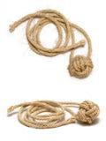 2个拳头黄麻结猴子绳索 库存照片