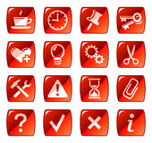 2个按钮图标红色万维网 免版税图库摄影