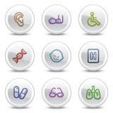 2个按钮圈子颜色图标医学集合万维网 免版税库存图片