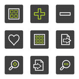 2个按钮灰色图标映象集正方形浏览器& 库存图片