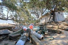 2个故障残骸飓风艾琳 库存照片