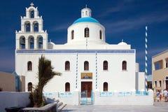 2个教会海岛santorini 库存图片