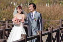 2个新娘桥梁新郎愉快超出走 免版税库存照片