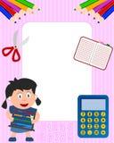2个框架女孩照片学校 免版税图库摄影