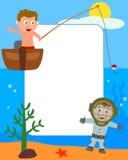 2个框架孩子照片海运 库存照片