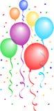 2个气球五彩纸屑eps 免版税库存图片