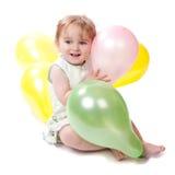 2个气球女孩愉快的老年 免版税库存照片