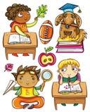 2个滑稽的学童系列 库存图片
