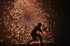 2个火变戏法者 免版税图库摄影