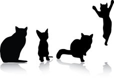 2个猫被设置的剪影 库存例证