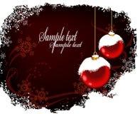 2个球圣诞节明信片红色雪 库存照片