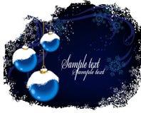 2个球蓝色圣诞节明信片雪 免版税图库摄影