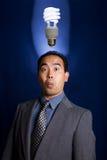 2个电灯泡想法光 库存照片
