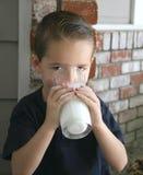 2个男孩牛奶 库存图片