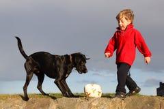 2个男孩狗足球 库存图片