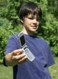 2个男孩电话 免版税库存图片