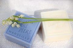 2个百合用肥皂擦洗谷 库存图片