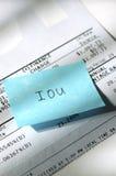 2个看板卡赊帐iou 免版税库存图片