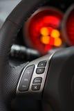 2个红色车速表方向盘 库存图片