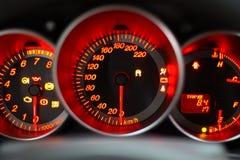 2个红色车速表 免版税图库摄影