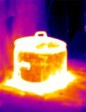 2个罐通入蒸汽的自计温度计 免版税库存图片