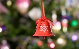 2个背景响铃圣诞树 免版税库存照片