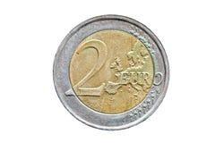2个背景硬币欧元查出的白色 免版税库存图片