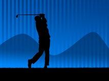 2个背景蓝色高尔夫球 库存图片