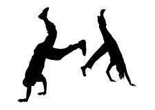 2个舞蹈演员战斗街道 免版税库存照片