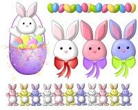 2个艺术兔宝宝动画片夹子复活节 免版税库存照片