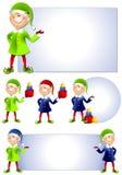 2个艺术圣诞节夹子矮子圣诞老人 库存图片