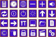 2个蓝色按钮图标万维网 免版税库存照片
