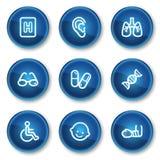 2个蓝色按钮圈子图标医学集合万维网 库存图片