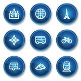 2个蓝色按钮圈子图标被设置的旅行万& 图库摄影