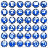 2个蓝色按钮来回万维网 免版税库存照片