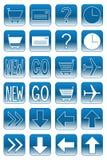 2个蓝色按钮轻的万维网 免版税图库摄影