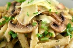 2个蘑菇意大利面食 库存图片