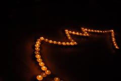 2个蜡烛圣诞树 库存照片