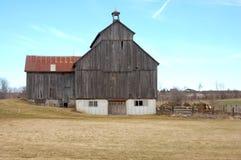 2个谷仓钢木头 库存照片